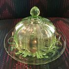 Green Depression Glass Covered Butter Dish Colonial Anchor Hocking as is Vintage
