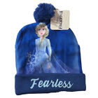 Disney Frozen 2 Elsa Princess Girls Beanie Winter Hat Blue Pom Fearless One Size