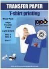 PPD Inkjet Iron On Mixed Light and Dark Transfer Paper LTR 85X11 Pack of 40