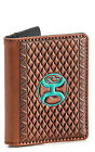 Hooey Tooled Leather Diamond Embossed Card Holder Money Clip Brown Turquoise