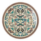 Vintage Faux Butterfly Round Wall Art Mounted on Linen Under Glass w Wood Frame