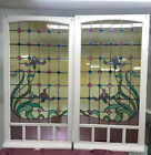 PAIR LARGE ART NOUVEAU STAINED GLASS WINDOWS ANTIQUE PERIOD LEAD OLD RECLAIMED