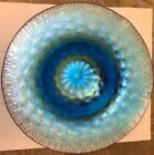 SPECTACULAR TIFFANY Favrile Peacock Blue Iridescent Footed Bowl