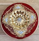 VENETIAN MURANO HAND PAINTED WITH 24K GOLD LAYER RUBY RED VICTORIAN PLATE