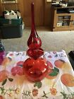 Red Rainbow Glass Amberina Crackle Glass Decanter Glass Very Good Condition