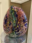 DECORATIVE MULTI COLORED ART GLASS VASE 12 INCHES HIGH AND 11 INCHES WIDE