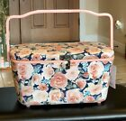 DRITZ Large Sewing Basket Pink Floral Design Lift out Tray Hook Closure NEW
