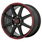 4 Motegi MR142 16x7 4x100 4x45 +40mm Black Red Wheels Rims 16 Inch