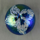 Cobalt Blue Iridescent Studio Art Glass Paperweight With White Flower On The Top