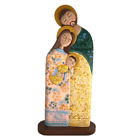 Holy family Wooden nativity set Hand made Floral decoration