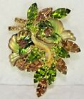 Brilliant EDLEE Molded Art Glass Stones Green Topaz Rhinestones Leaf Brooch Pin