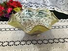 Hilltop Artists Mottled White Yellow Turquoise  Signed Art Glass Bowl 10