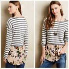 Postmark Anthropologie Womens Tunic Size Large Striped Floral Scalloped Pullover