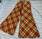 Vtg 60s Big Bells Hippie Plaid Cotton Pants 17bells Ladies Pant Waist27 28