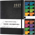 2021 Planner - Weekly Monthly Planner 5.75 X 8.25 Saffiano Leather With Thic