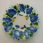 PEGGY KARR Signed Fused Art Glass Serving Bowl 10 3 4 Morning Glory Flowers EUC