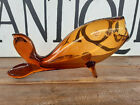 Large Vtg Blenko Amber Glass Open Mouth Footed Fish 22 MCM Hand Blown Vase