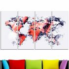 Design Art Red and Grey Map Canvas Art Print Extra Large