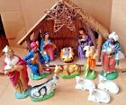 Vintage LARGE 14 Piece Lighted Musical Nativity Scene Creche Italy Silent Night