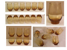 VINTAGE Libbey TEMPO 10 oz Drinking Glass Tumblers HONEY AMBER Set of 6
