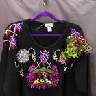 Ugly Christmas Nativity Christmas Sweater Size 1X Black Handmade