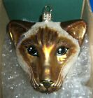 SLAVIC TREASURES SIAMESE CAT BLOWN GLASS HAND PAINTED HOLIDAY TREE ORNAMENT