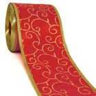 Bulk 25 pcs 333 YD 2 1 2 Christmas Wired Red Satin Ribbon Gold Wholesale Lot