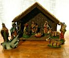 Vintage Christmas Nativity Set from Italy 10 Pcs Complete Set with Stable C 13