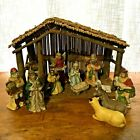 Vintage Christmas Nativity Set Hand Painted Porcelain Stable with box C 14