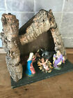 Vintage Made in Italy Christmas Manger Nativity Creche Stable w 5 Figures