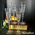 4 Vintage Cut and Etched Champagne Flutes Crystal Mikasa Frosted Flower buds