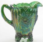 Pitcher Dahlia Hunter Green Carnival Glass Mosser USA