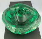 Italian Murano Glass Emerald Green Bubbles Ashtray