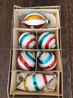 Old Rare Vintage Lot Mica Striped Glass Christmas Ornament Lot Blue Red Gold