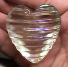 Robert Held RHAG SIGNED Clear Iridescent Art Glass Heart Paper Weight 275 Tall