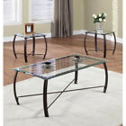 3 Pc Beveled Glass And Metal Frame Coffee Table  2 End Tables Occasional Set