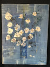 Vintage Mid Century Modern Still Life Oil Painting By French Artist H Magre