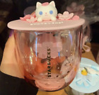 Starbucks Liminted Edition Pink Cherry Blossom Cute Cat Glass Cup W 3D Cat Lid