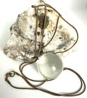 Clear Glass Round Crystal Ball Necklace Long Mystical Awareness 31