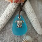 Handmade in Hawaii leather cord unisex blue sea glass necklace unisex jewelry