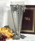 Cut Glass Vase in Silver Plated holder with grapes Footed Stand Flower Vase