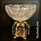Vintage Crystal Candy Dish Brass Victorian Baroque Bowl w hanging Crystals