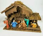 Vintage Wooden Italian Nativity Set Christmas Manger w 8 Figures Made In Italy