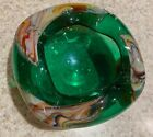 Gorgeous Antique Italian Blown Art Glass Ashtray Green with Splashes of Color