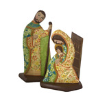 Wooden Nativity Scene Hand Made Sacred Family Floral Decoration Unique