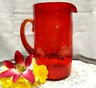 40s Blenko Handcrafted Ruby Red Tangerine Pinched Crackle Glass Tall Pitcher