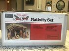 Vtg Sears TRIM SHOP Nativity Set Manger Stable Creche 11 Ceramic Figures