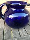 Vintage Hand Blown Cobalt Blue Glass Pitcher
