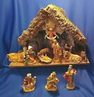 11 PC FONTANINI HEIRLOOM NATIVITY SET CHRISTMAS SCENE HOLY FAMILY W WOOD STABLE