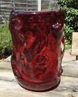 Vintage Whitefriars Wilson  Dyer Ruby Red  Clear Knobbly Glass Vase 9609